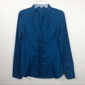 Express Essential Teal Blue Button-Down Blouse
